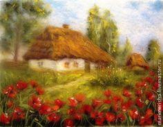 Картина из шерсти Домик в деревне. Маки цветут. - салатовый,шерстяная живопись