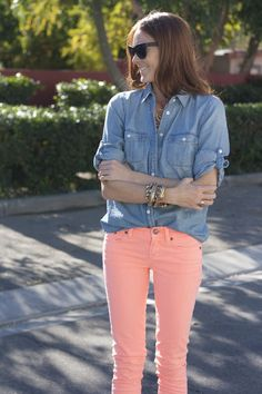 jcrew  //  neon persimmon jeans    loooove the coral jeans