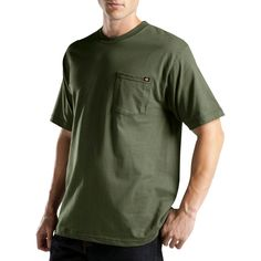 Dickies Men's Big & Tall Short Sleeve Performance Wicking Pocket T-Shirt- Moss (Green) Xxxl Tall