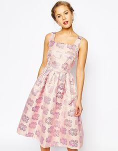 True Decadence Floral Jacquard Pleated Midi Skater Dress