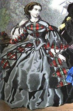 1858. Townsend's monthly selection of Parisian costumes.  Lozenge plaid bordered with ruching. --- I wonder if I could do something like this with extra bits of my wool plaid, to get even more mileage out of it. Maybe even for extra mixing and matching? hmmm.