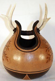 Antler basket by Decker Fine Art Gourds