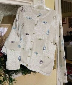 Christopher Banks Leaves Cardigan Sweater L Khaki Winter White Blue Purple