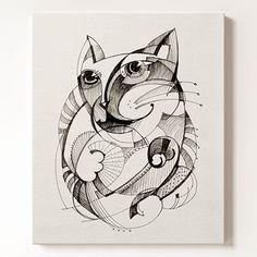 일러스트 캔버스 액자 Cat 고양이
