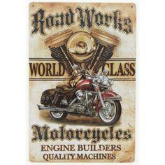 """Plaque métallique publicitaire moto rétro, représentant un moteur et une moto avec inscription """"Road Works Motorcycles"""".  Dimensions : 20 cm X 30 cm. Plaque perforée dans les quatre angles."""