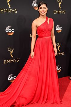Priyanka Chopra in red toga Jason Wu gown // Bridal fashion inspiration on the Emmys 2016 red carpet