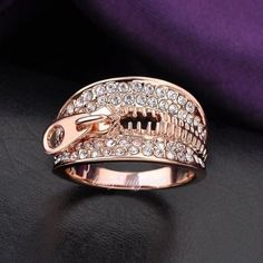 Zipper Pattern Crystal Band Ring Statement 18k Rose Gold GP Women Gift R1017