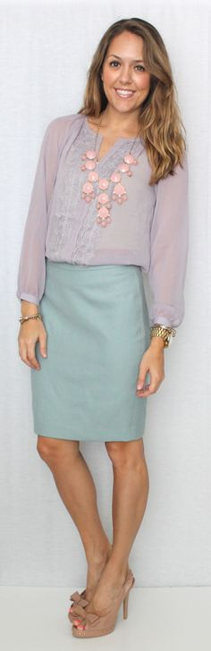J's Everyday Fashion: Today's Everyday Fashion: Lilac Lace ---- mint skirt, nude pumps, lilac top, statement necklace