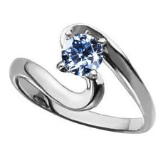 blue rings | ... : Ocean Wave Solitaire Engagement Platinum Ring with Blue Diamond