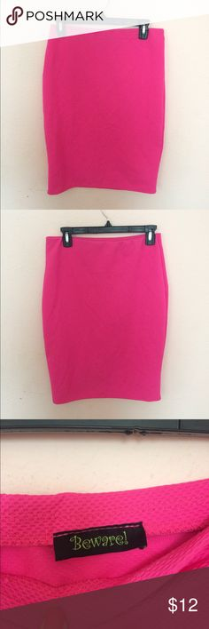 Pink Pencil Skirt ✨ Pink Pencil Skirt ✨ Size Large, flawless condition & quality. Length 24 in. & width 22 in. Super stretchy, flattering hot pink in color 😍  Shop pencil skirts & MORE on my page ! Happy Poshing 🎉 Skirts Pencil