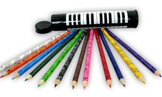 Musical Coloured Pencils in Tin - School Stationery   musical gifts online
