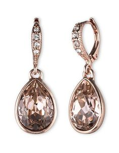 Givenchy Glass Stone Drop Earrings Women's Rose Gold
