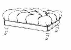 HF 457   Large Tufted Turned Leg   Hallman Furniture