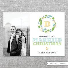 Photo Holiday Card | DIY Printable or Printed | Wishing You a Married Christmas | First Xmas as Mr. and Mrs. | Newlyweds | 5x7