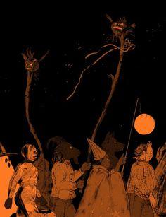 Halloween, ein Kunstdruck von K. Halloween Illustration, Art And Illustration, Illustrations, Kunst Inspo, Art Inspo, Arte Horror, Horror Art, Fantasy Kunst, Fantasy Art