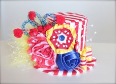 Circus Ring Master Inspired Red, White, Blue and Yellow Mini Top Hat Headband (or fascinator) - Perfect Circus Birthday or Photo Prop on Etsy, $26.00