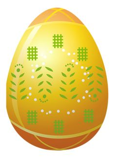 Easter Yellow Egg with Decoration PNG Clipart Picture