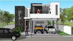 Modern Bungalow House, Modern House Plans, Modern Architecture Design, Architecture Plan, House Construction Plan, Construction Contract, 2 Storey House, Garage Dimensions, Maids Room