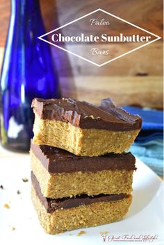 Paleo Chocolate Sunbutter Bars are allergy and diabetic friendly. So tasty, you'll never know they're good for you! I lost 8 sizes and reversed Type 2 Diabetes through diet and lifestyle. For more healthy ideas follow me on Pinterest and subscribe to my blog at this link. #paleochocolatesunbutterbars