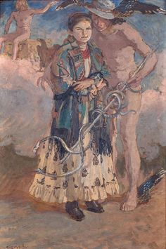 Józef Mehoffer: Merkury i Jagniesia, 1914 r. olej, tektura, 50,3 × 34 cm sygn. l. d.: Józef Mehoffer