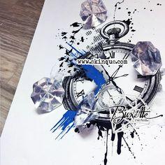 trash polka clock realistic birds raven tattoo idea illustration bunette