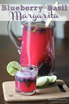 Blueberry Basil Margaritas - only 5 ingredients!
