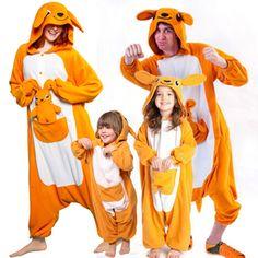 Family matching Orange Kangaroo Onesie Animal Kigurumi Costume Pajamas  Christmas Pajamas 12d954bee
