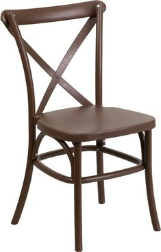 Create a charming and inviting ambiance in your living or restaurant space with this stylish chair. The designer cross back adds a modern, yet classic appeal to conform in different settings. The chair features a solid color throughout the frame giving you long lasting color without the need to repaint. The inner legs feature metal tubing that adds strength to the overall chair. Chairs are lightweight and easily stack for storing. This chair was built for all-weather use making it a great…