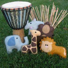Safari Stuffed Animal PATTERN - PICK 1 - Lion Gorilla Giraffe Rhino or Elephant Plushie - Easy via Etsy
