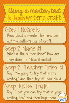 Steps for using a mentor text to teach author's craft