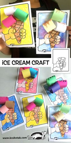 children activities, more than 2000 coloring pages Paper Crafts For Kids, Craft Activities For Kids, Projects For Kids, Diy And Crafts, Craft Projects, Arts And Crafts, Ice Cream Crafts, Ice Cream Art, Ice Cream Theme