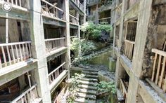 Abandoned homes on Hashima Island Japan taken by Google Street View Explore for yourself instructions in comments  #abandoned #homes #hashima #island #japan