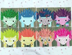 Hazel the hedgehog quilt blocks | @spetzie on IG Fancy forest quilt pattern #fancyforest