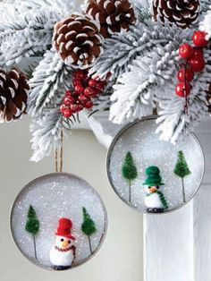 Mason Jar Lid Christmas Ornaments | Here's the ornament craft you can make along with tons of other fun ...