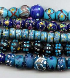 Beautiful antique Venetian glass beads circa late 1800's, early 1900's.
