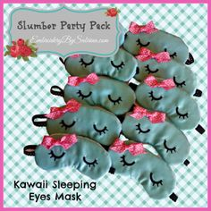 Slumber Party Favors Sleeping Kawaii Eyes Sleep Mask FREE SHIPPING on Etsy, $47.69 AUD