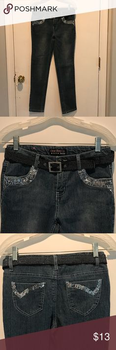Girl's One Step Up Embellished Jeans Girl's One Step Up Embellished Straight Leg Jeans With Belt. Gently Used / Excellent Condition One Step Up Bottoms Jeans