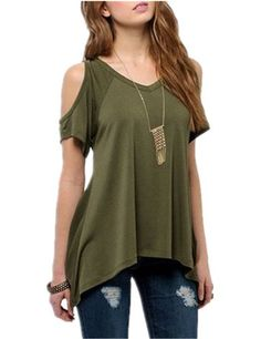 Ninimour Women's Vogue Shoulder Off Wide Hem Design Top Shirt