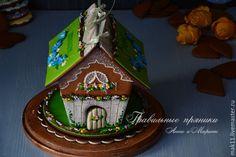 """Купить Пасхальный пряничный домик """"Веночек с незабудками"""" - пряничный домик, домик, пасхальный, пряничный дом"""