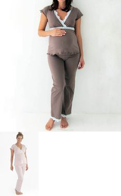 Sleepwear 15755: $75 Belabumbum Maternity Ariel Cami And Pant Pj Set, Mocha Blue, Pink Ivory -> BUY IT NOW ONLY: $39.95 on eBay!