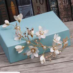 Wedding Bridal Vintage Gold Leaf Cream Flower Pearl Tiara Headpiece Hair Piece #Tiara