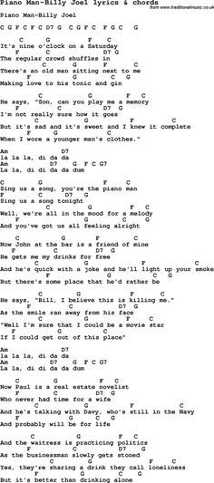 Love song: Piano Man-Billy Joel With Chords and Lyrics, For ukulele, guitar, banjo and other instruments. Music Theory Guitar, Guitar Chords And Lyrics, Ukulele Chords Songs, Easy Guitar Songs, Guitar Chords For Songs, Ukulele Tabs, Piano Songs, Guitar Tips, Great Song Lyrics
