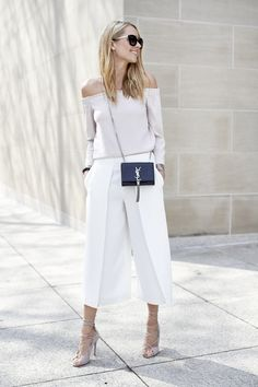 Off the shoulder top, culottes and lace up heels