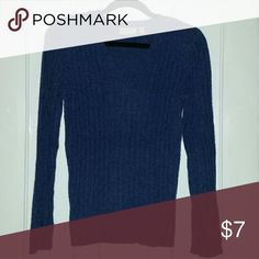 Fuzzy blue sweater Warm and soft v neck sweater. Nylon/polyester. croft & barrow Sweaters V-Necks