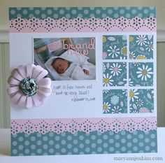 Love this scrapbook layout for one picture #babyscrapbooks
