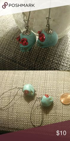 Skull and roses dangle earrings. Donating 3-27 Faux turquoise (clay) skulls with metal roses. Perfect for dia de los muertos or halloween. handmade Jewelry Earrings