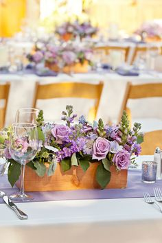 Lavender / lilac roses, stocks, scabious in wooden boxes - wedding table centres / floral arrangements // mirelle carmichael photography