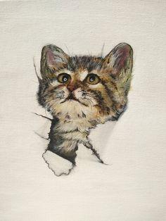 Acrylic painting cat Funny Cats, Bee, My Arts, Animals, Painting, Animales, Animaux, Funny Kitties, Painting Art