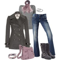 """Really must have those boots, that coat too!  LOVE gray/purple """"Burberry London Pea Coat"""" by pamnken on Polyvore"""