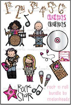 Rock n Roll bundle. $7.00, via Melonheadzdoodles on Etsy.